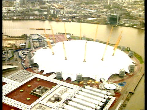 aerials millennium dome: crime scene inside dome; england: london: greenwich: millennium dome: ext note some break up of picture on air views air... - the o2 england stock videos & royalty-free footage