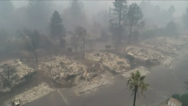aerials of burned ruins after wildfires in paradise california - fire natural phenomenon stock videos & royalty-free footage