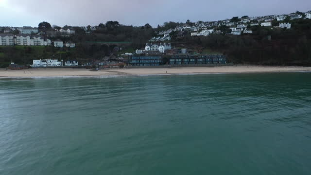 aerials of carbis bay, cornwall, where the g7 summit is being held - idyllic stock videos & royalty-free footage
