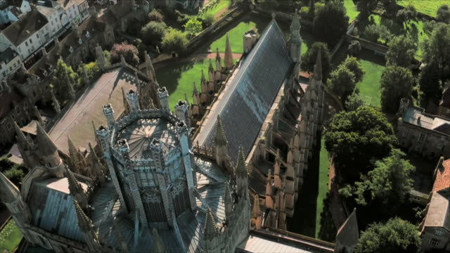 aerials of ely cathedral, cambridgeshire - circa 12th century stock videos & royalty-free footage