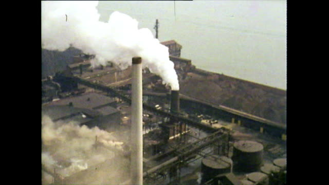 aerials of factories and industry in detroit; 1972 - steel mill stock videos & royalty-free footage
