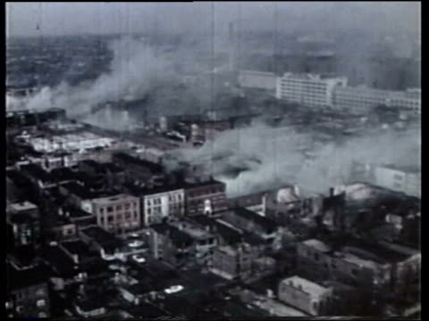wgn aerials of fires during the riots - 1968 stock videos & royalty-free footage