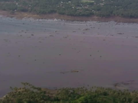 aerials of flooding and devastation caused by tsunami - 2004 stock-videos und b-roll-filmmaterial