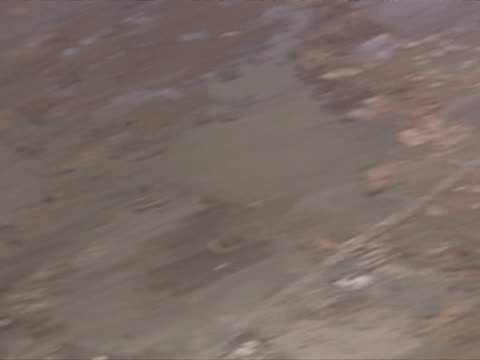 Aerials of flooding and devastation caused by Tsunami