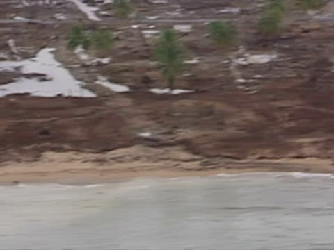 aerials of flooding and devastation caused by tsunami - 2004 stock videos & royalty-free footage