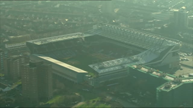 Aerials of Hampshire / Aerials of Upton Park and Olympic Stadium in London London of West Ham / Upton Park / tracking shot from Upton Park to Olympic...