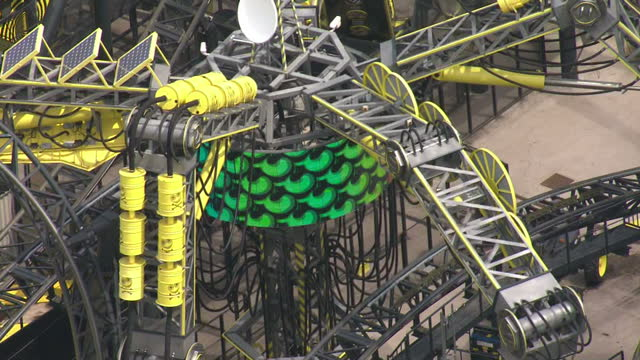 aerials of health and safety officials outside smiler rollercoaster ride alton towers closed today after four teenagers suffered serious leg injuries... - 2015 stock-videos und b-roll-filmmaterial