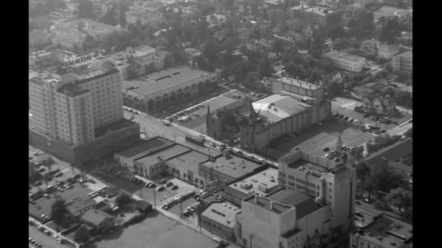 aerials of hollywood on january 01, 1940 in los angeles, california - hollywood california video stock e b–roll