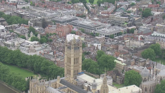 aerials of houses of parliament and westminster abbey on 5th july 2021 in london, united kingdom. - aerial view stock videos & royalty-free footage