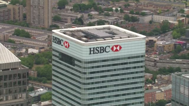 Aerials of HSBC Headquarters in Canary Wharf AIR VIEWS AERIALS of HSBC Barclays and Citigroup buildings HSBC logo