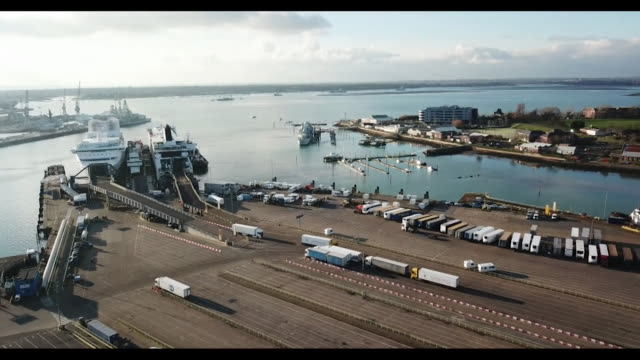 Aerials of lorries at Portsmouth Harbour