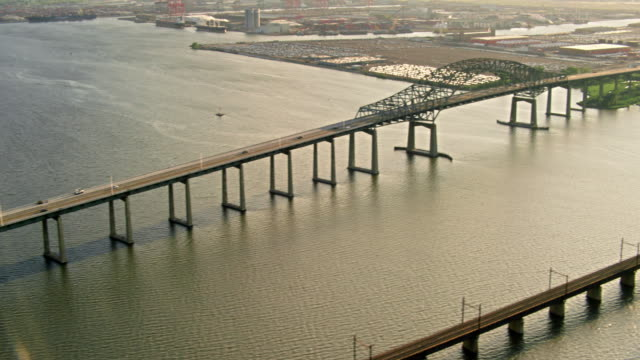 Aerials of New Jersey, New Jersey Turnpike Extension Bridge over the Passaic River, Interstate 78, Newark Bay