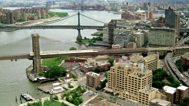 Aerials of New York City, Brooklyn Bridge, Brooklyn Bridge Park, Manhattan Bridge, East River
