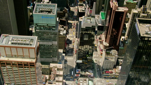 aerials of new york city, looking down into 7th ave and broadway, times square, midtown manhattan, looking south - 7th avenue stock videos & royalty-free footage