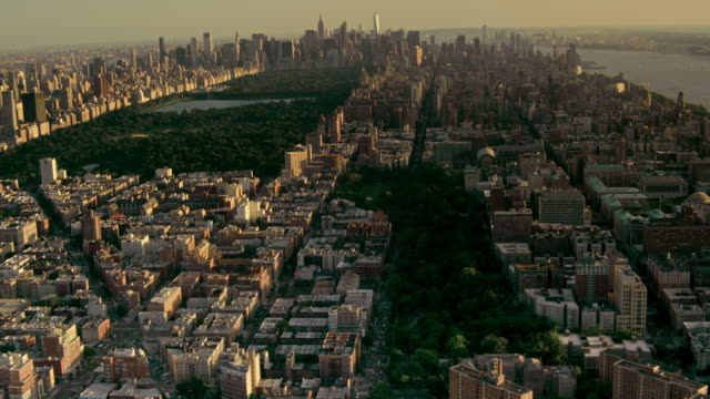 aerials of new york city, manhattan, morningside heights, harlem, and central park, looking south, at sunset - south america stock videos & royalty-free footage