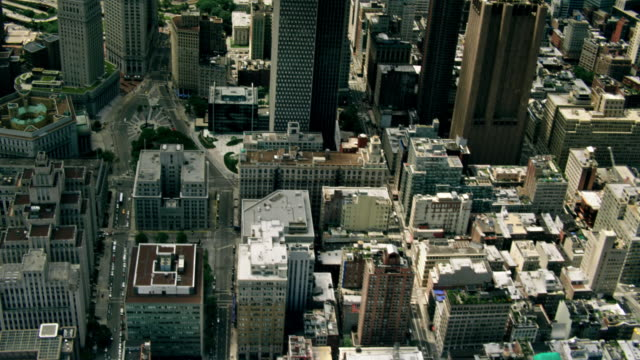 aerials of new york city, manhattan, moving south, looking down into tribeca,  city hall, and lower east side - tribeca stock videos & royalty-free footage