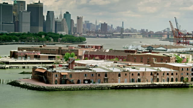 Aerials of New York City, Red Hook Docks in the foreground, East River and Lower Manhattan in background