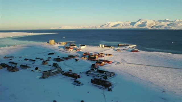 aerials of ny alesund research station in svalbard norway - ice stock videos & royalty-free footage