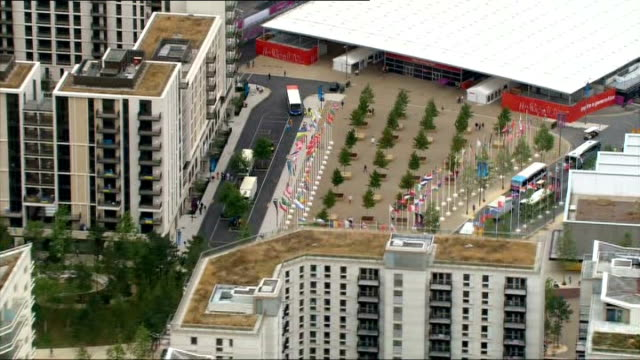 aerials of olympic park and athletes' parade preparation further aerials / air views of olympic stadium and accommodation blocks aerials / air views... - surrounding stock videos and b-roll footage