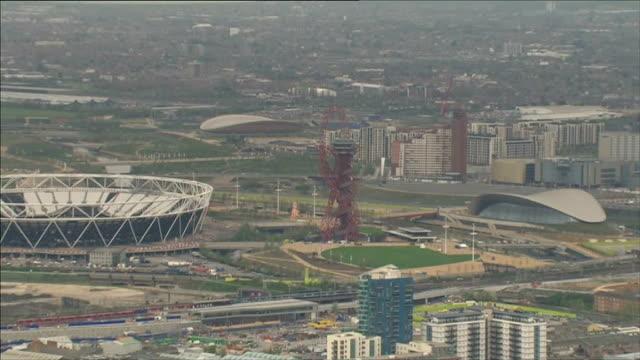 Aerials of Queen Elizabeth Olympic Park ENGLAND London Stratford VIEWS AERIALS of Queen Elizabeth Olympic Park including Olympic Stadium...