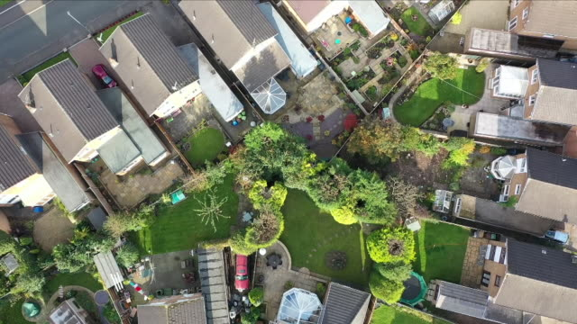 aerials of residential homes - domestic garden stock videos & royalty-free footage