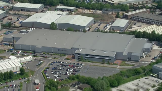 aerials of rolls royce factory in derby after the company announced 9000 job cuts due to the airline industry being badly impacted by coronavirus - making stock videos & royalty-free footage