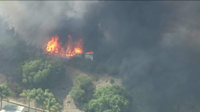 ktla aerials of rvs burning during wildfire on may 03 2013 in camarillo california - camarillo stock videos & royalty-free footage