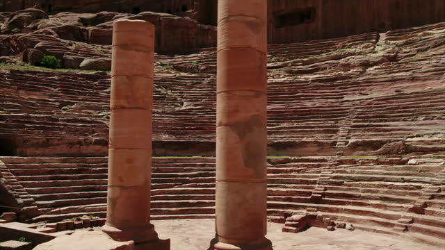 aerials of the amphitheatre at petra, jodan - amphitheatre stock videos & royalty-free footage