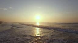 Aerials of the beach at dawn. Odisha, India.