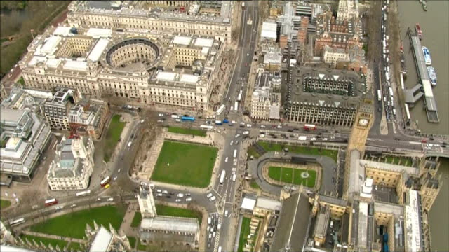 Aerials route of funeral of Margaret Thatcher ENGLAND Central London VIEWs route of Baroness Thatcher's funeral Houses of Parliament then along...