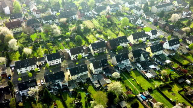 aerials shot of suburban area in germany - motorway junction stock videos & royalty-free footage