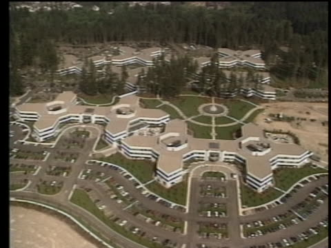 aerials shots from 1989 of the microsoft headquarters in redmond, washington, near seattle. - seattle stock videos & royalty-free footage