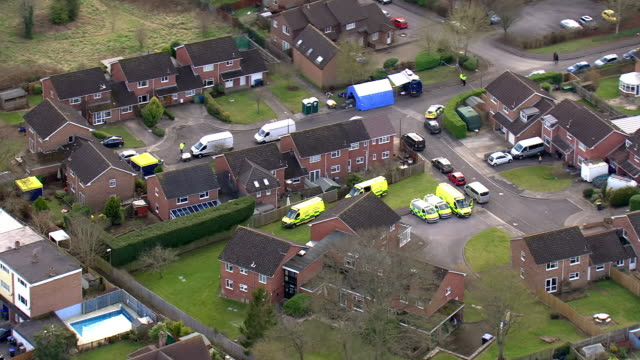 aerials shots of ambulances and emergency services vehicles outside the former russian spy sergei skripal's home on 9 march, 2018 in salisbury,... - toxic substance stock videos & royalty-free footage