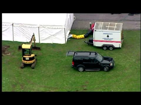 vidéos et rushes de aerials shots of haute de la grange, police tent erected to side of building. - 50 secondes et plus