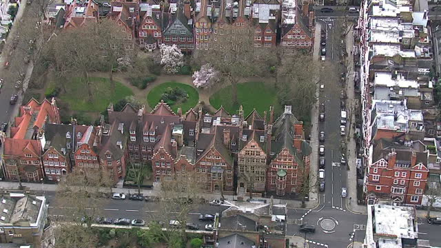 aerials showing large london houses, expensive million pound plus properties located in exclusive areas of london, chelsea, kensington and... - addition key stock videos & royalty-free footage