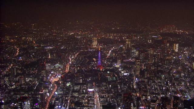Aerials Tokyo Tower At Night