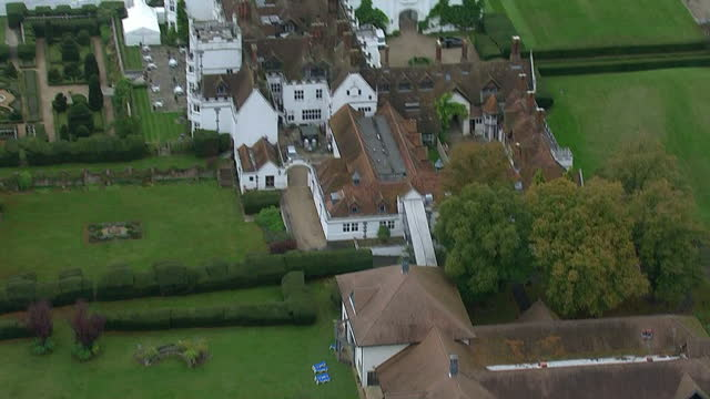 aerials views circling around the danesfield house hotel & spa in marlow where george clooney is to host his wedding reception - george clooney stock videos & royalty-free footage