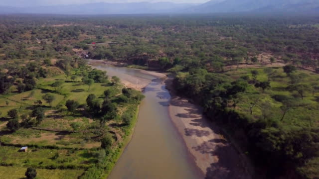 Aerial/Savanna riverine acacia forest with river , Kenya