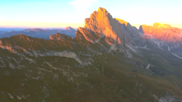 aerial:seceda, dolomites at dusk - extreme terrain stock videos & royalty-free footage