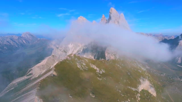 AERIAL:Seceda Mountain, Dolomites (Moving reverse)