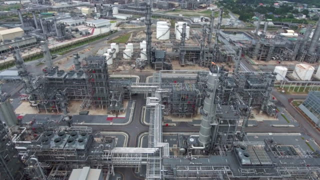 AERIAL:shot of refinery oil station