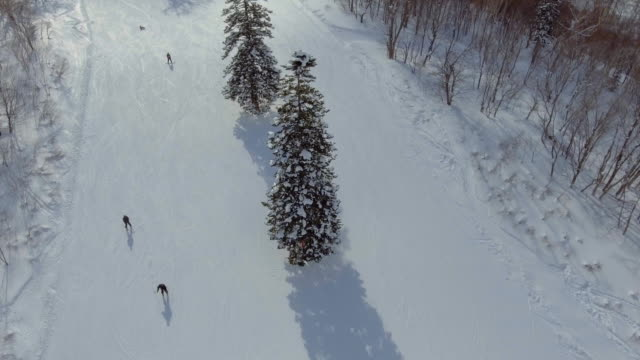aerial:skiing on the mountain ridge - skiing stock videos & royalty-free footage