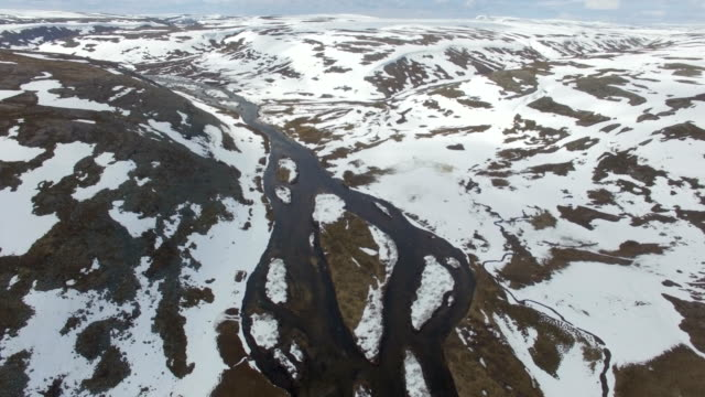 aerial/snow melting in the arctic tundra , finnmark, norway - scandinavia stock videos & royalty-free footage