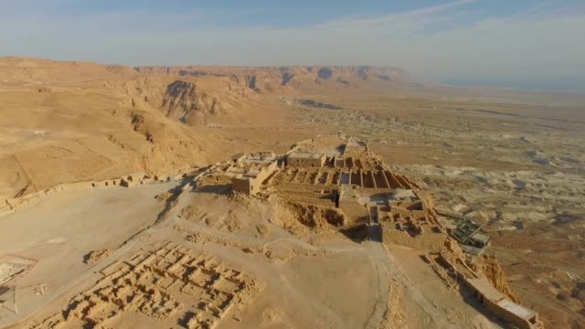 aerial/sunrise at masada, southern judea desert - fortress stock videos and b-roll footage