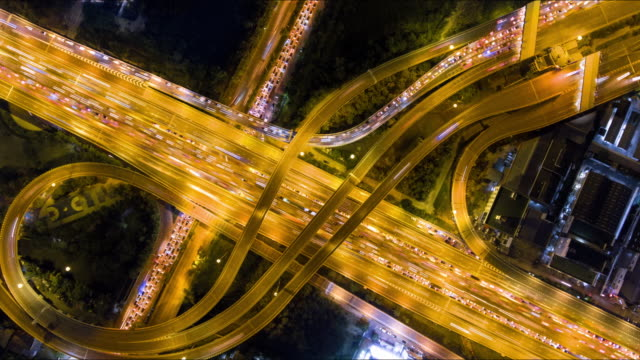 aerial:timelapse over super highway at night - beverly hills california stock videos and b-roll footage