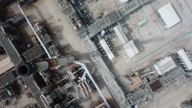 Aerial:Top view of oil refinery plant