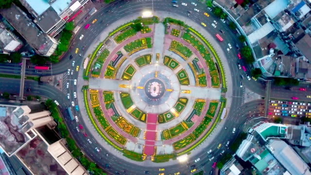 aerial:traffic circle - skyscraper stock videos & royalty-free footage