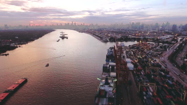 Aerial:Transportation containership at dusk