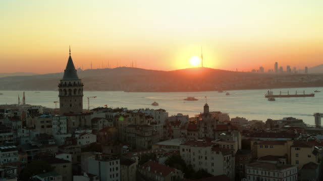 aerialview of galata tower and unplanned urbanization in istanbul - bosphorus stock videos & royalty-free footage