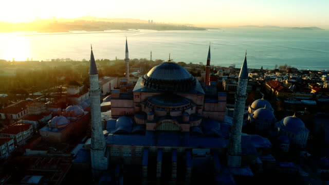 aerialview of hagia sophia and hagia eirene and bosphorus at sunrise in istanbul - ottoman stock videos and b-roll footage